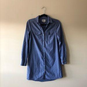 Bass blue printed shirt dress